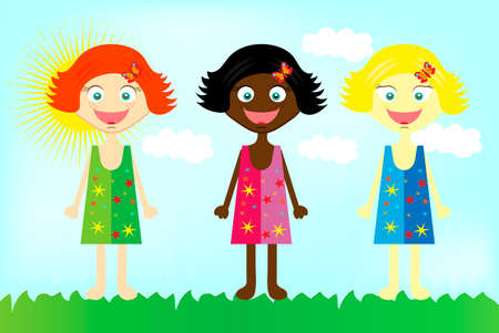national women of color day: Three colorful happy  girls from all over the world