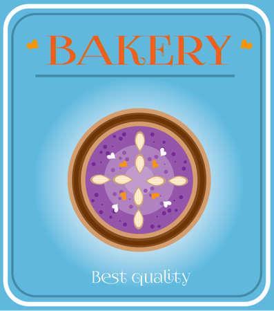 bake sale sign: Bakery with plum cake on blue background Illustration