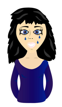 sad lonely girl: Young sad and crying  girl on white background