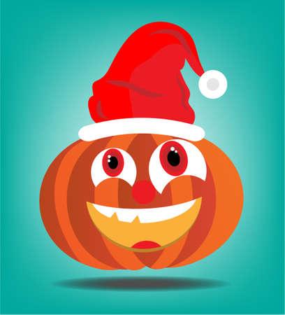 Orange halloween pumkin with red cap on blue background Vector