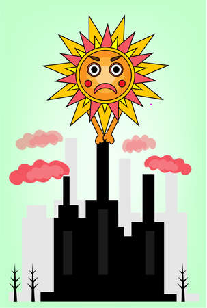 toxic emissions: Picture of angry sun and dirty  factory