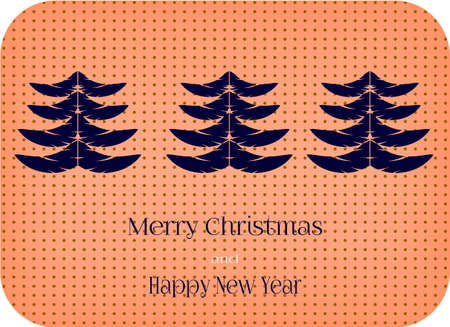 Romantic Christmas card with three blue trees Vector