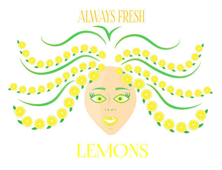 green hair: Young woman with green hair with lemons