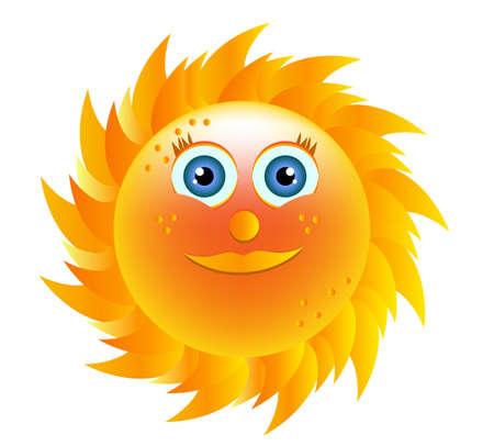 blue eyes: Smiling yellow sun with blue eyes on white background