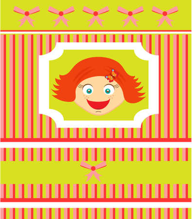 red haired person: Striped birthday card with redhead smiling girl