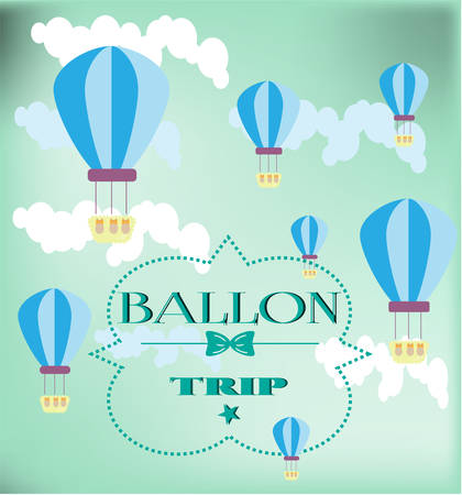 ballooning: Card with striped blue balloons on blue background
