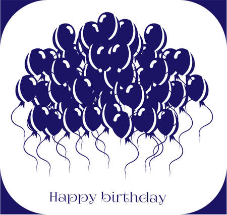 balon: Birthday card with blue balloons on white background