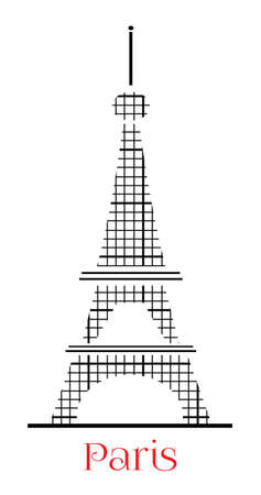Black Eiffel tower with text on white background Vector