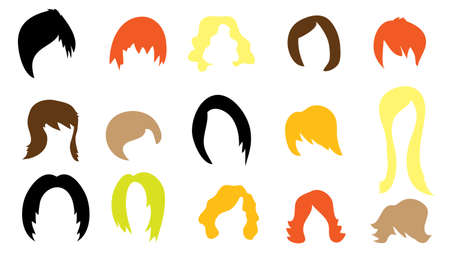 cut short: Set of colorful wigs on white background