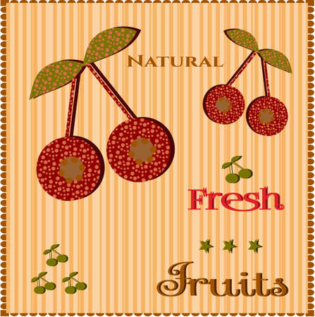 brigh: Dotted red cherries on brigh striped background