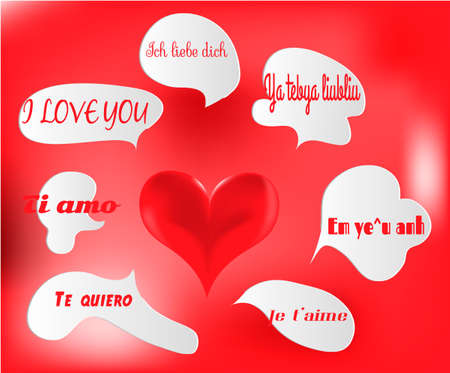 deutsch: Heart with bubbles and the sentences - I love you - in different languages