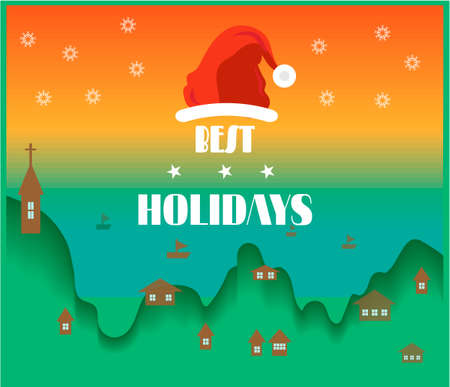 bulding: Bright retro holidays card with sea and small buildings Illustration