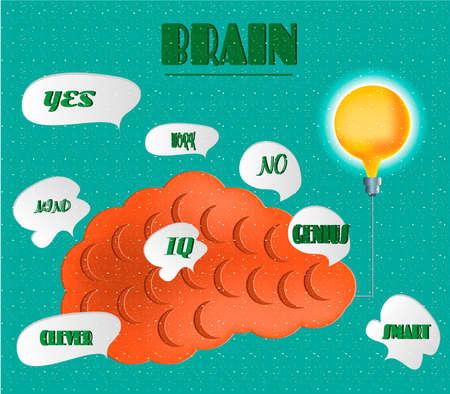 iq: Card - idea, iq, genius, mind, clever, orange brain, on blue background Illustration