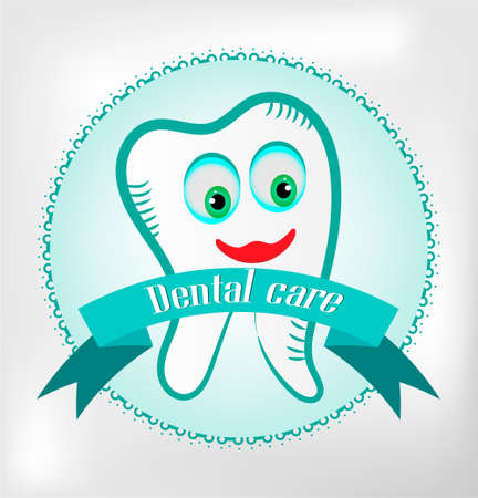 Teeth on bright background, blue lace, text dental care Vector