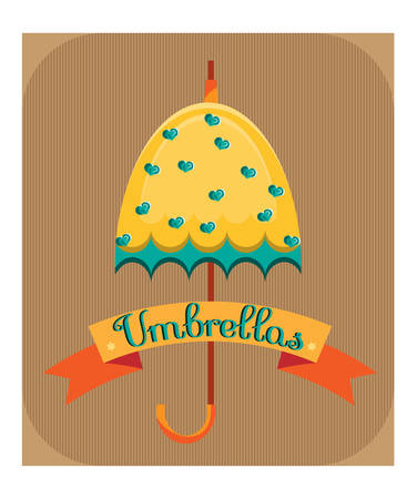 yellow umbrella: Yellow umbrella with blue hearts on brown striped background Illustration