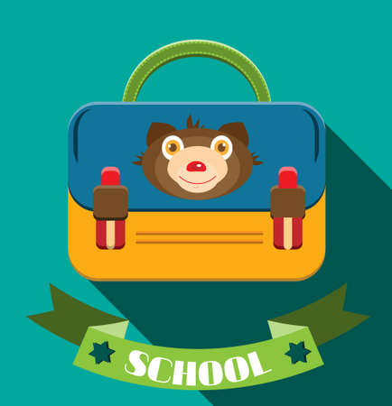 schoolbag: Blue, yellow schoolbag with bear, blue background, flat design