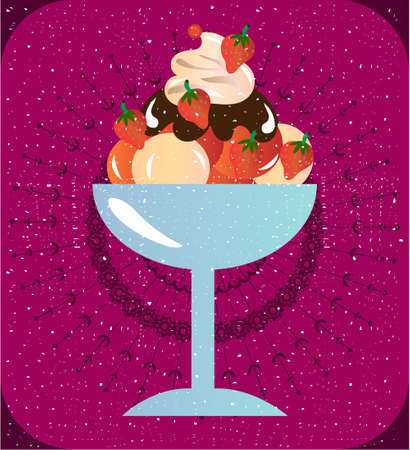 whipped cream: Sundae with whipped cream, strawberries and topping, violet background Illustration