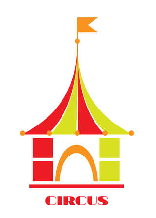 entertaining: The circus - colorful tent with orange flag and text, white background