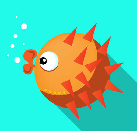Big orange fish with lips , flat design, blue background Vector