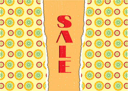 Card with yellow, red floral pattern, text sale Vector