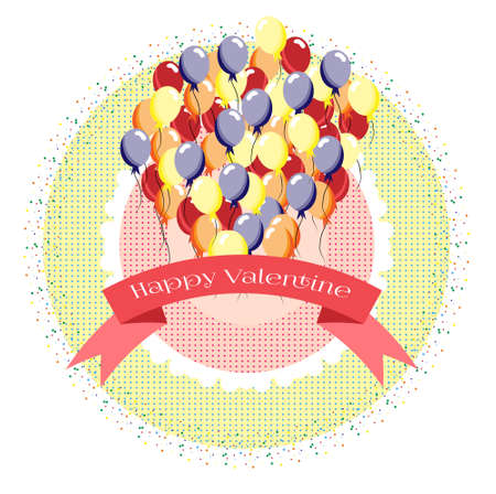 balon: Birthday card with many colorful balloons, dotted background