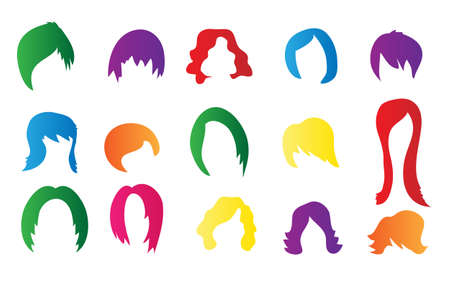 long red hair woman: Set of colorful wigs on white background