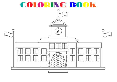Picture of school buildings - coloring book, white background Vector