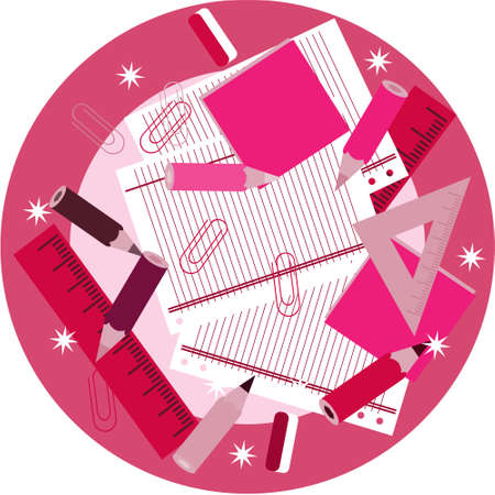 Pink school supplies on table with stars Vector