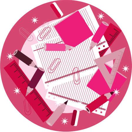 femine: Pink school supplies on table with stars Illustration