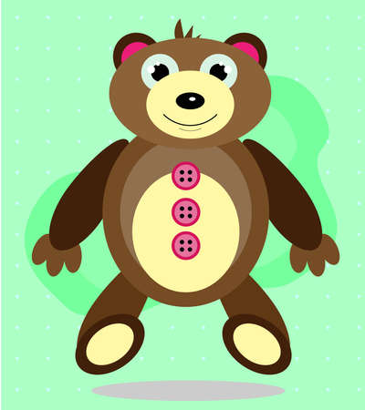 Brown sitting teddy bear - toy, bright background Vector
