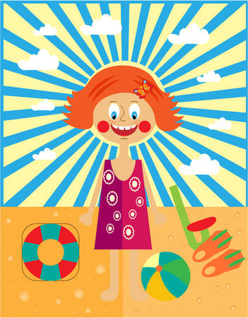 rescue circle: Young happy, ginger girl, playing on a beach Illustration