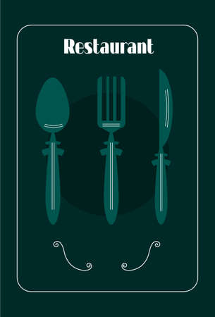 dinners: Green card with kitchen cutlery, white, decorative spirals