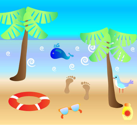 pring: Summer background with sandy beach, clouds, waves, two palm trees