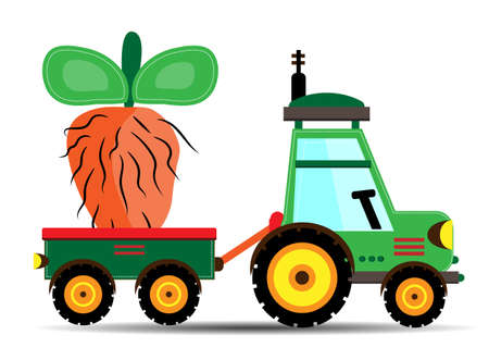 Isolated tractor with beet on white background