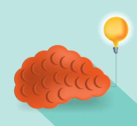 iq: Card with huge brain and yellow lightbulb on blue background Illustration