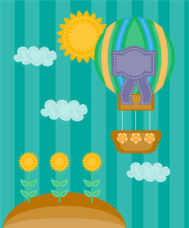 Summer background with hill, nature and sky Vector