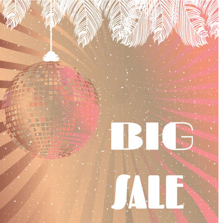 provide information: Pink, white, summer card with text Big Sale