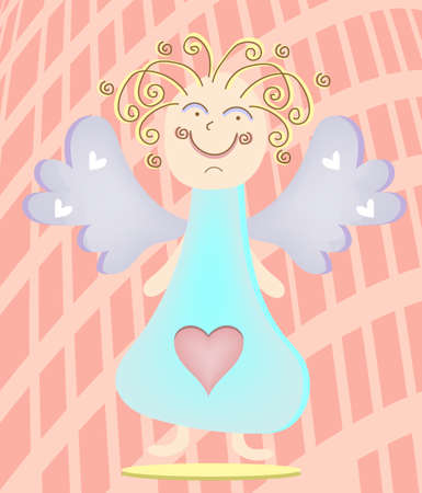 Blond angel with violet wings on red background Vector