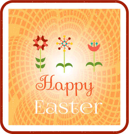Beatiful, easter card with three flowers on orange background