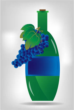 brigh: Green bottle of wine on brigh, grey background Illustration