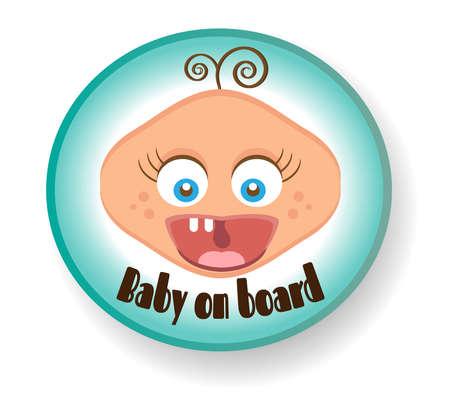 white bacground: Blue sign - baby boy on white bacground Illustration