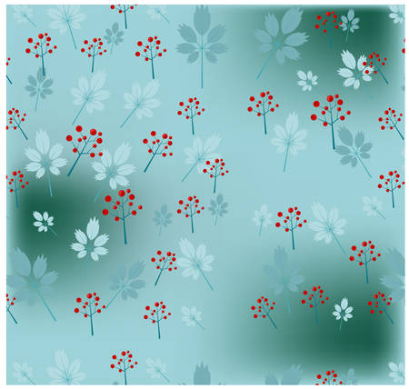 One, blue pattern with flowers and leaves Illustration