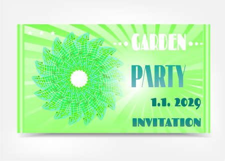 Green invitation with huge flower and text