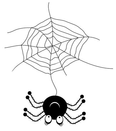 mandibles: Smiling, hanging black spider on white background