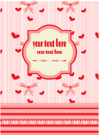 red pink: Beautiful romantic, red, pink card with pattern