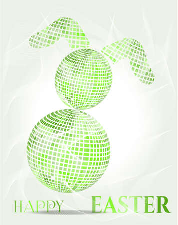 buny: Modern card with huge easter bunny with text
