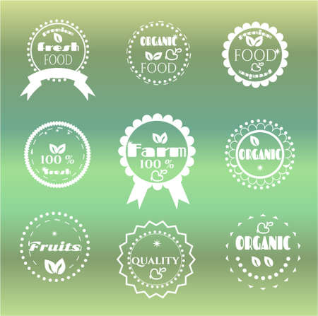 Group of nine labels on bright background Vector
