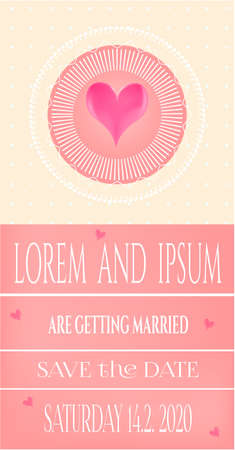 nuptial: Romantic, wedding invitation card with pink heart Illustration