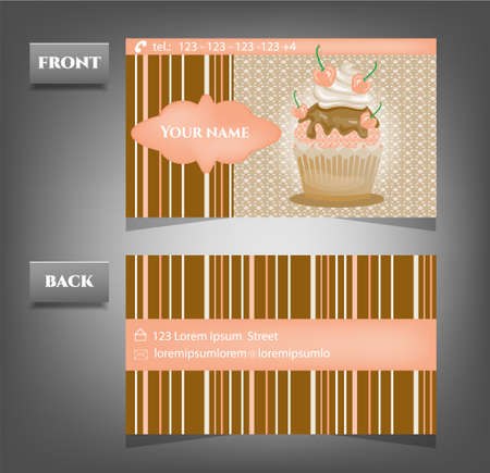 patisserie: One, modern, business card with romantic cupcake