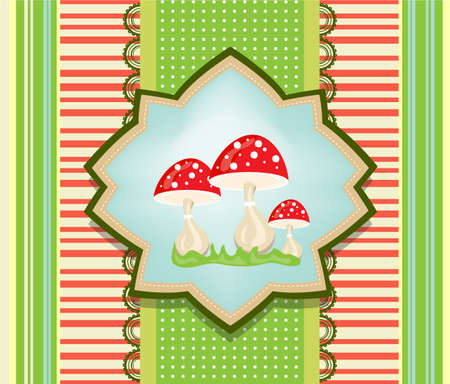 ivresse: Colorful, carte r�tro avec champignons rouges et de l'herbe Illustration